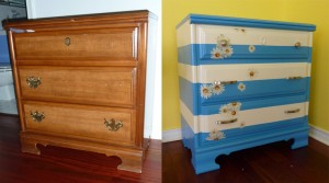 blah dresser before and then painted blue and white