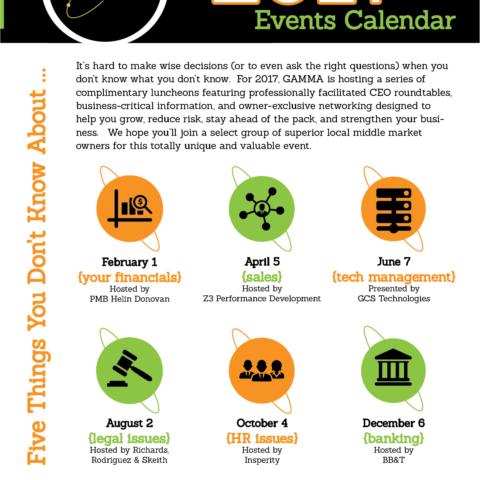2017 GAMMA Event Calendar