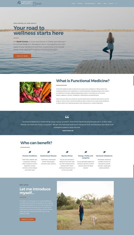 functional wellness website home page